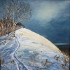 Waiting For the Moon Over Macabe 26x26 Framed Mady Thiel-Kopstein